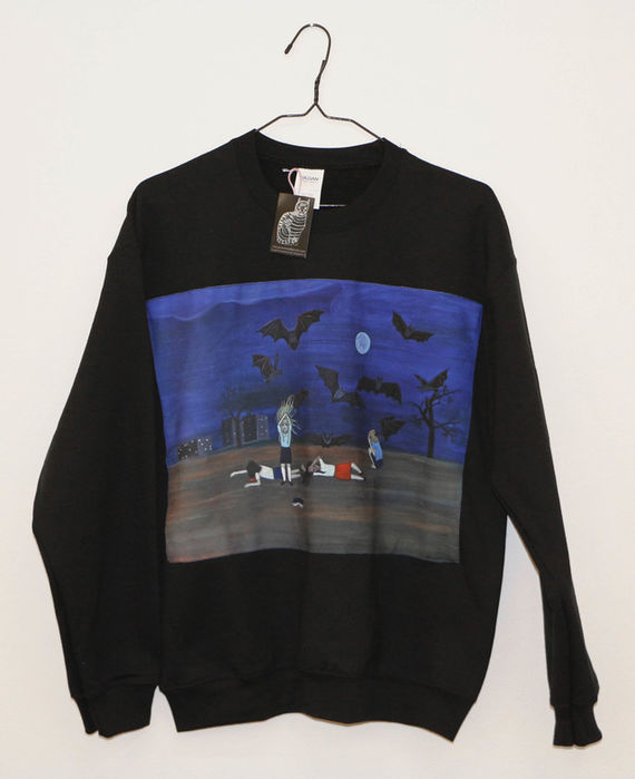 "Sweatshirt with original print ""bats"" by Eva Jaroňová,"