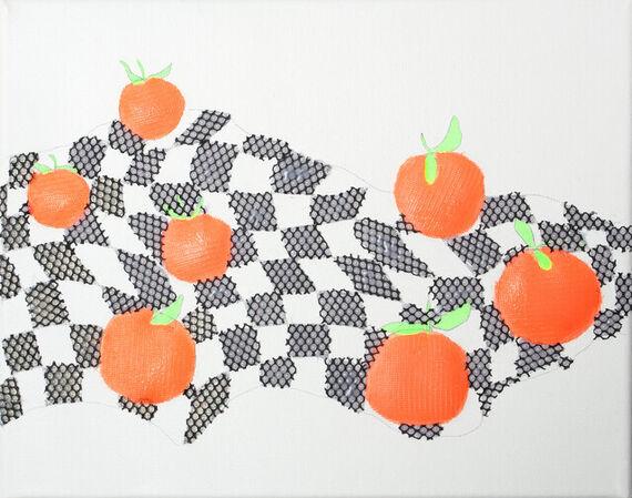 Still life with 7 oranges on finish flag by Jiří  Procházka,