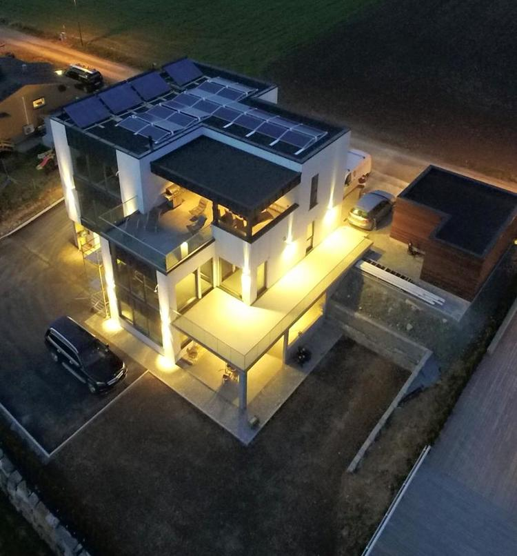 House with solar power. Otovo offers solar panels to private residences