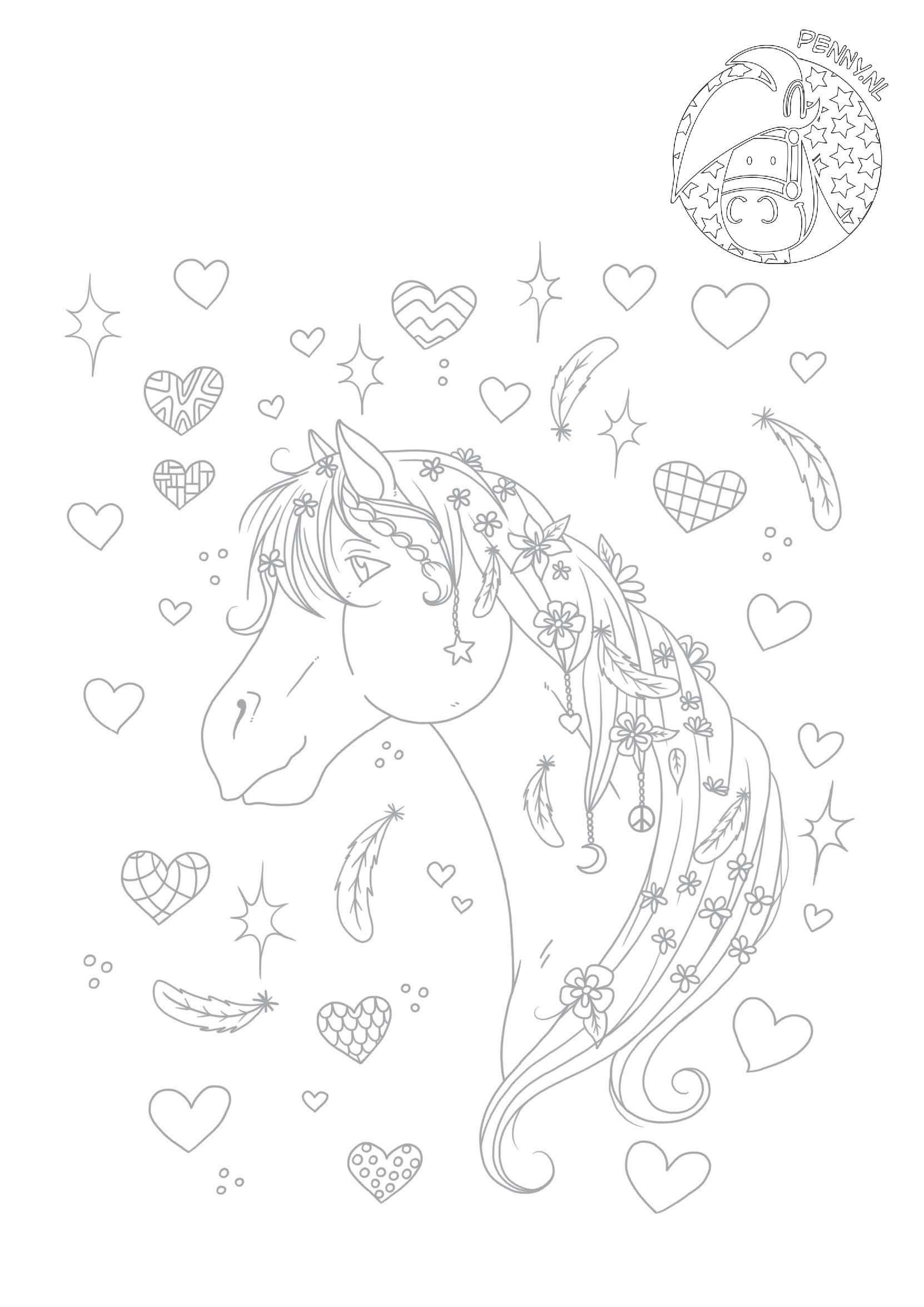 Sneeuw Kleurplaat Mooi Paard Met Versiering Penny