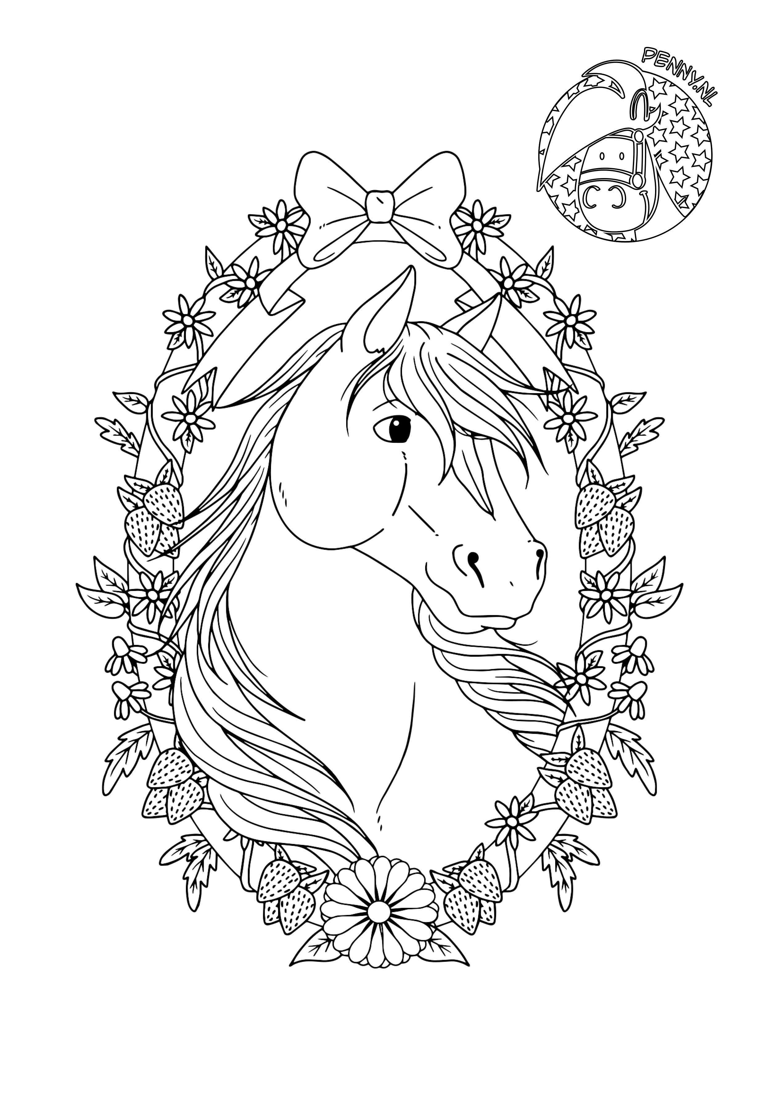 mooi paard met krans