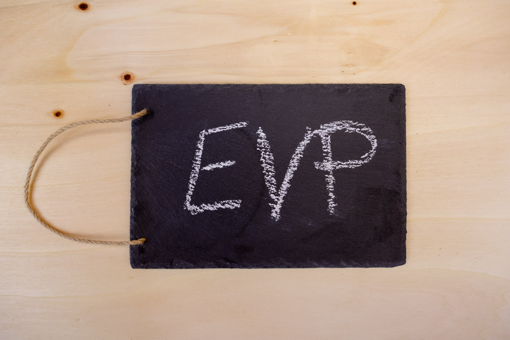 Schiefertafel mit Kreisschriftzug EVP - Abkürzung für Employer Value Proposition