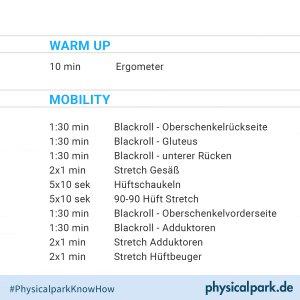 Trainingsplan Mobility und Blackroll Hüfte