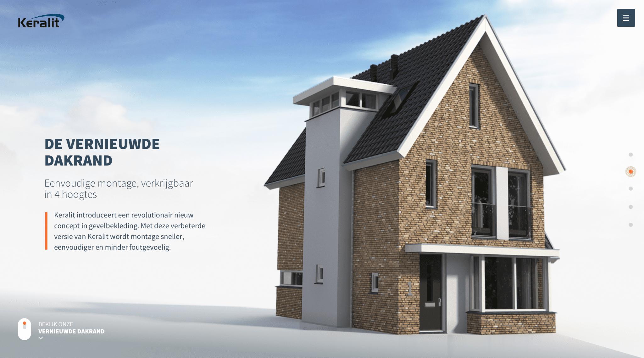 Voor de introductie van de vernieuwde dakrand ontwikkelden we een campagnesite. De site laat d.m.v. een interactieve animatie zien hoe de nieuwe dakrand werkt: https://www.keralit.nl/nieuwe-dakrand