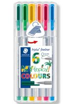 "STAEDTLER Triplus fineliner 0, 3 mm, 6 ass. ""tropical colours"""