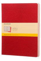 Moleskine Squared Cahier Xl - Red Cover (3 Set)
