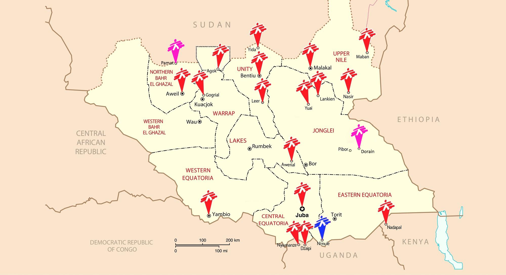 O hartă a celor de la MSF cu misiunile din Sudanul de Sus. În nord, chiar la graniță, se află localitatea Agok.