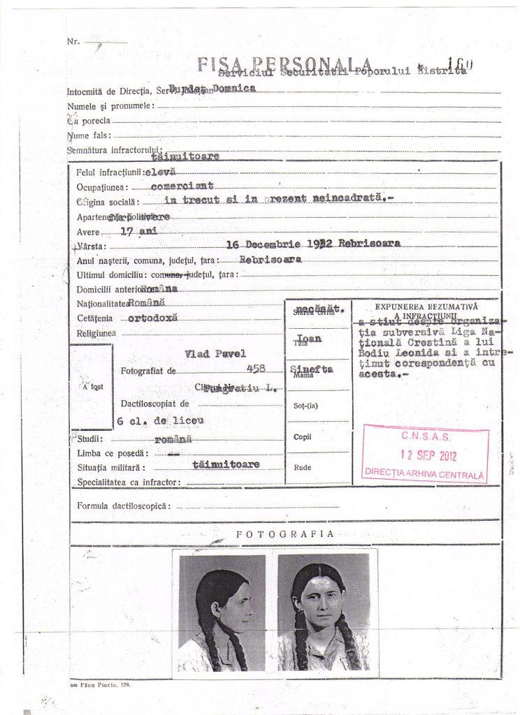 Fișa de la Securitate a Domnicăi Burdeț