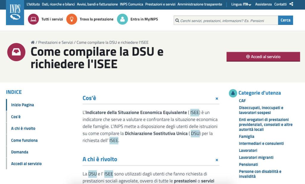 Calcolare ISEE online su sito INPS