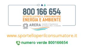La pagina web dello sportello per il consumatore di Arera