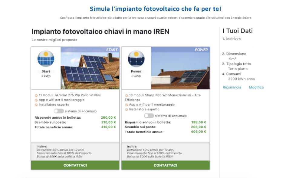 Simulatore Soluzioni Iren Energia Solare