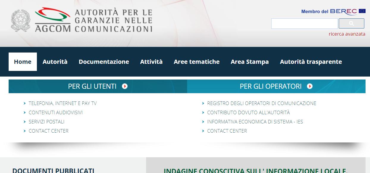 home page sito agcom