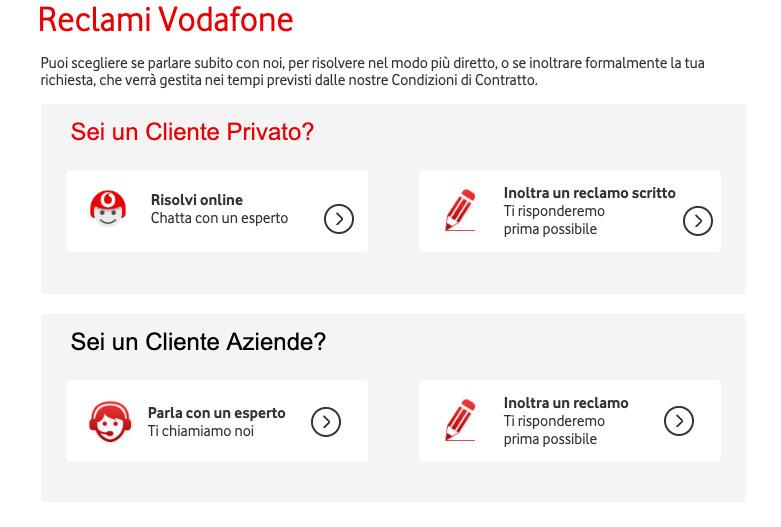 Fare reclamo a Vodafone