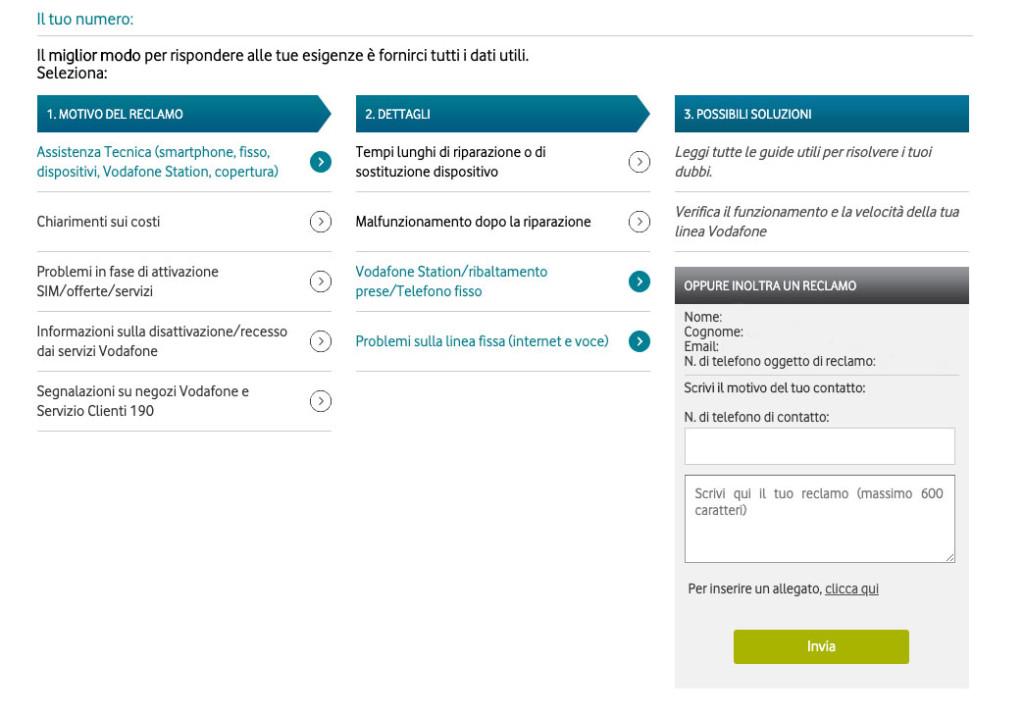 Esempio reclamo scritto Vodafone
