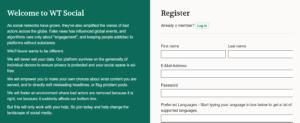 Home page di iscrizione di WT:Social