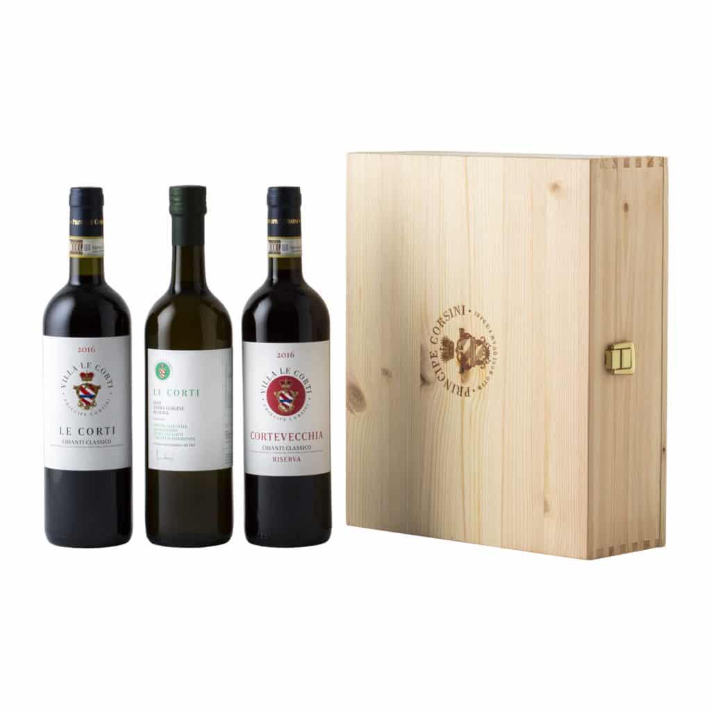 Le Corti 2016 + Cortevecchia 2015 + EVO Oil Le Corti + Wooden Box