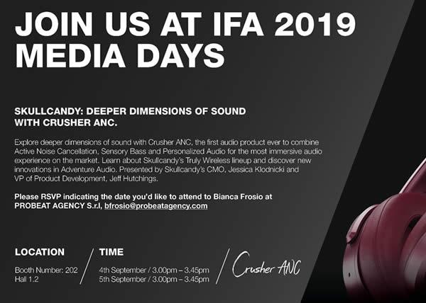Skullcandy ti invita ad IFA a scoprire la nuova cuffia CRUSHER con sistema di Active Noise Cancellation