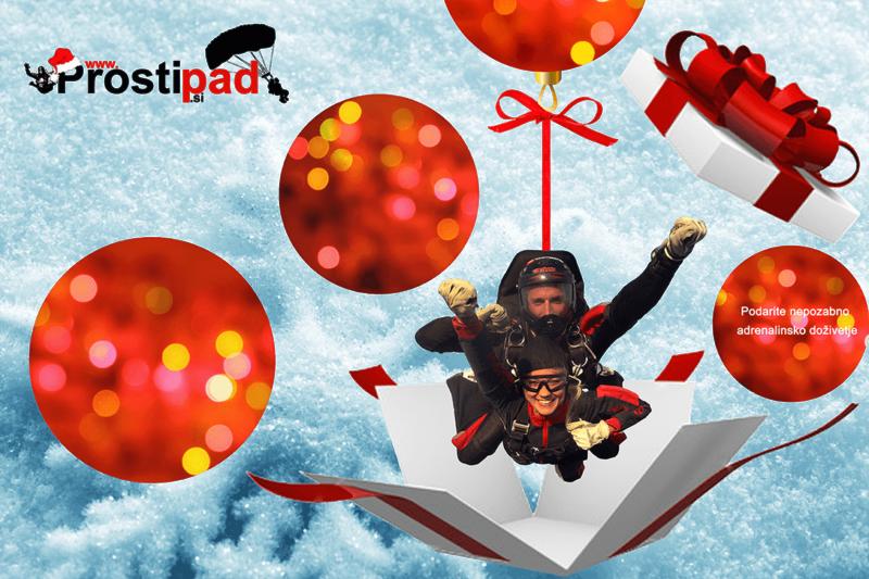 Tandemski skok s padalom za božično ali novoletno darilo