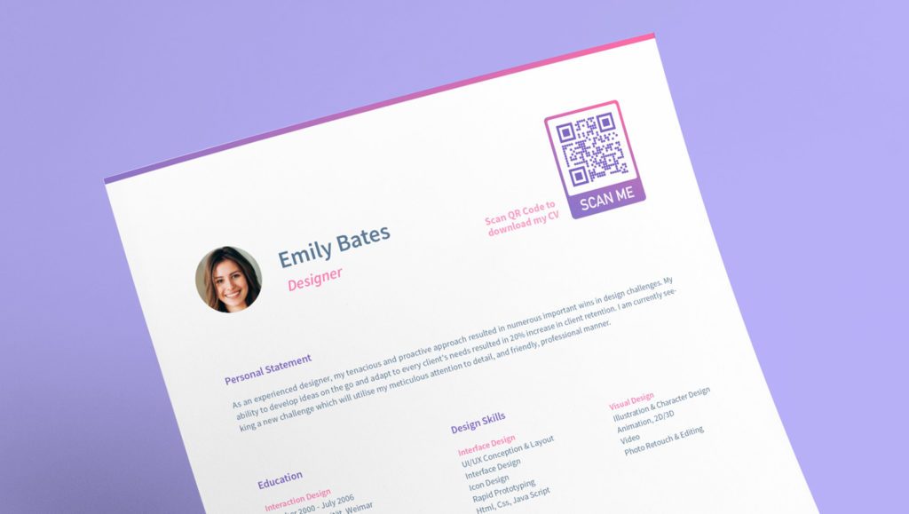 QR Code idea on a resume