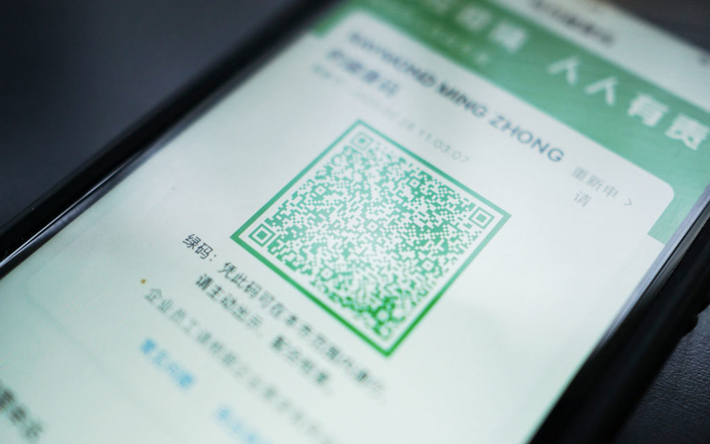 Color-coded QR Codes to indicate health status in China