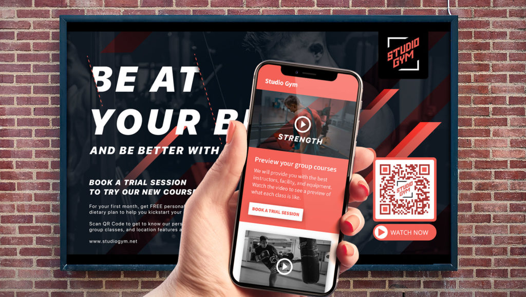 A Video QR Code on a print banner ad that connects users with rich media