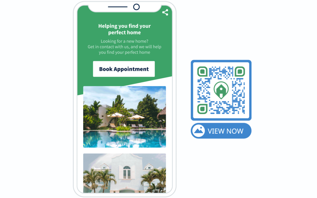 Image Gallery QR Code example and its landing page from QR Code Generator PRO
