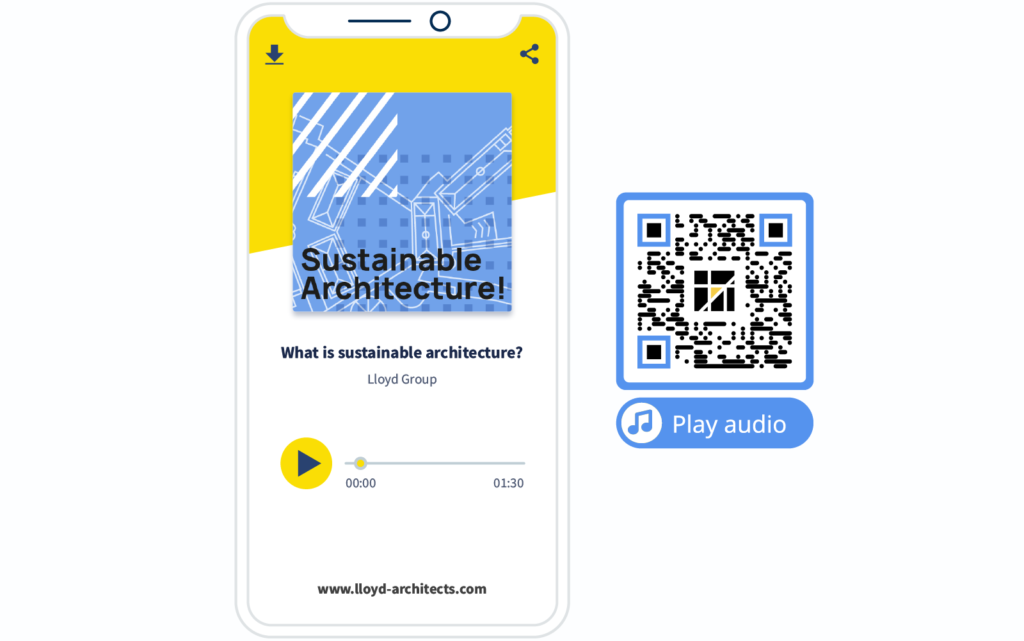 MP3 QR Code example and its landing page from QR Code Generator PRO