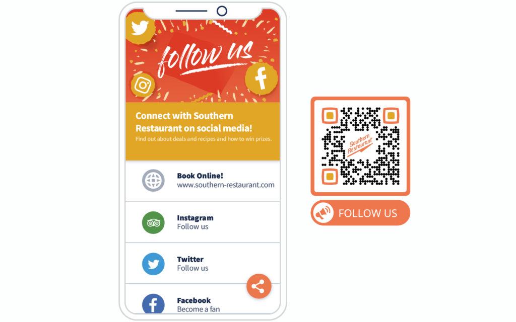 Social Media QR Code example and its landing page from QR Code Generator PRO