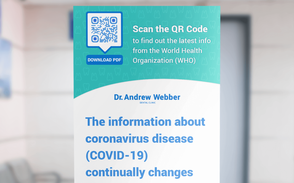 A poster at a clinic with a QR Code that redirects users to COVID-19 information online
