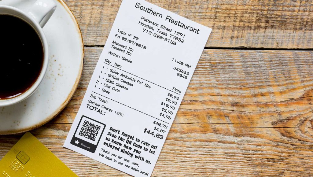 Example of a rating QR Code on a customer receipt at a restaurant