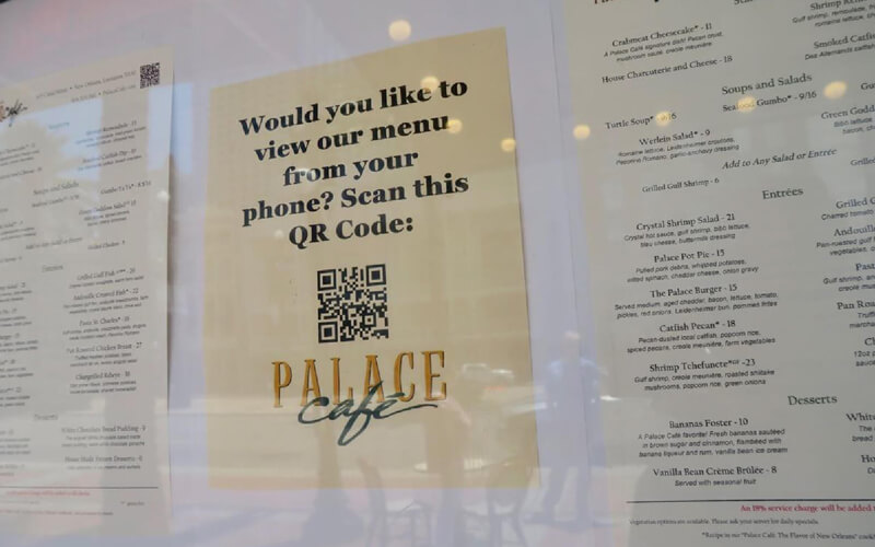 Palace Cafe's menu is now available via a QR Code from their restaurant window sign