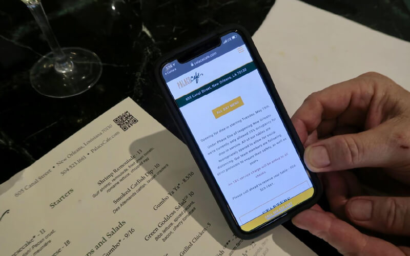 QR Codes on a restaurant menu create a no-touch, digital version of Palace Cafe's restaurant menu