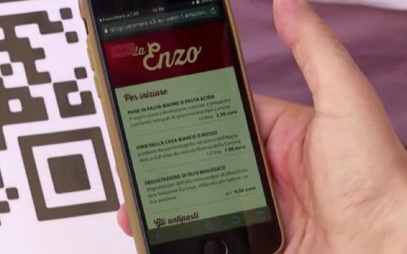 Da Enzo's digital and touch-free menu is now automatically accessible via QR Code
