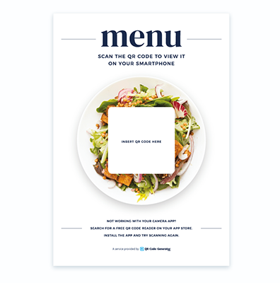 Free QR Code menu template with food background