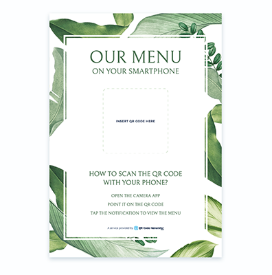 Free QR Code menu template with green background