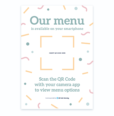 Free QR Code menu template with party background