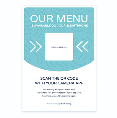Free QR Code menu template with blue background