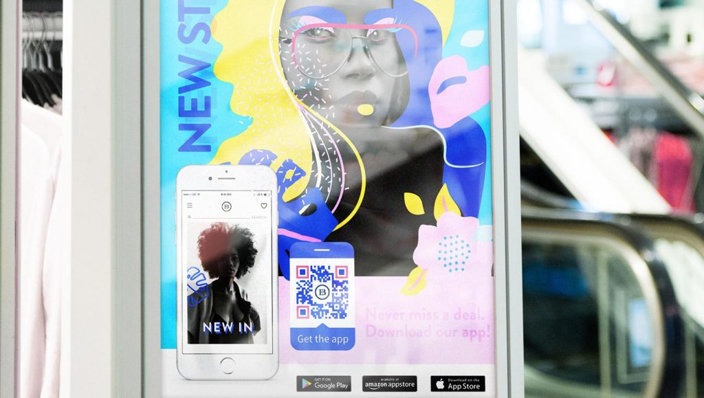 Example of an App Store QR Code on a print poster ad