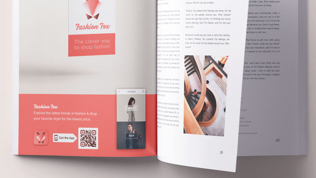 An App Store QR Code connects users with the app promoted in a print magazine ad