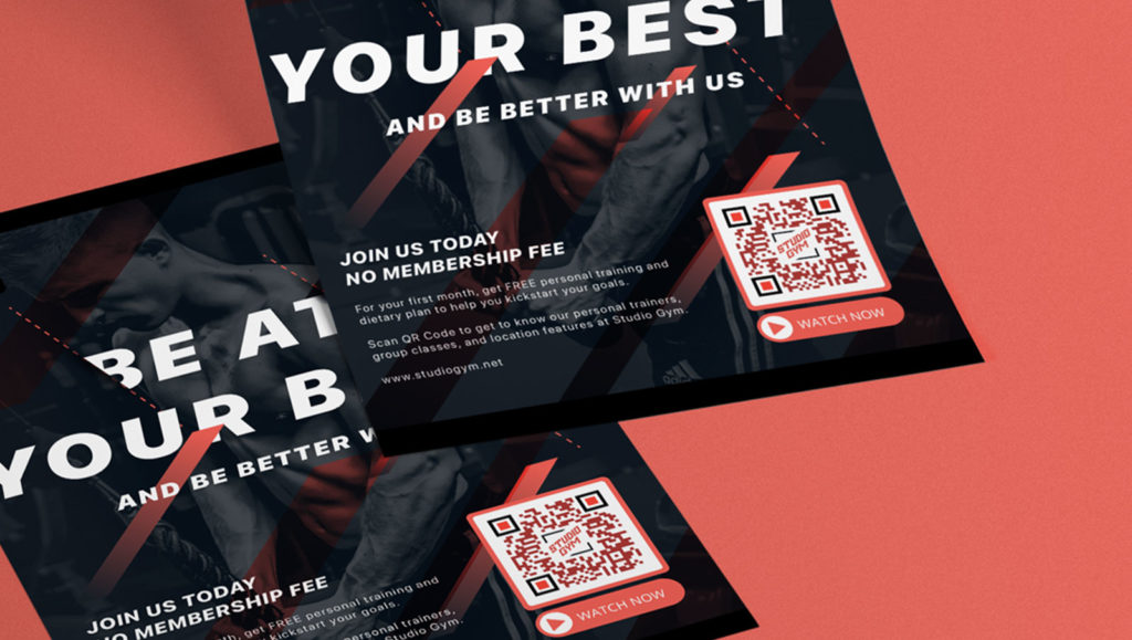 A Video QR Code connects users with a video that encourages making a gym membership purchase