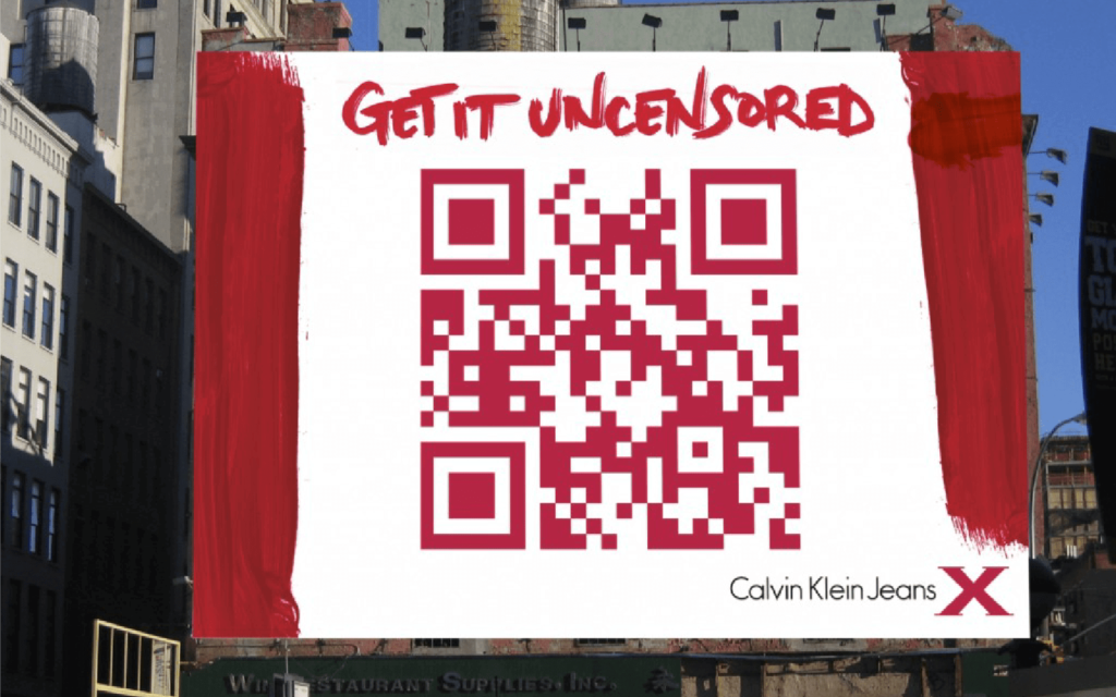 A QR Code on a billboard ad for Calvin Klein