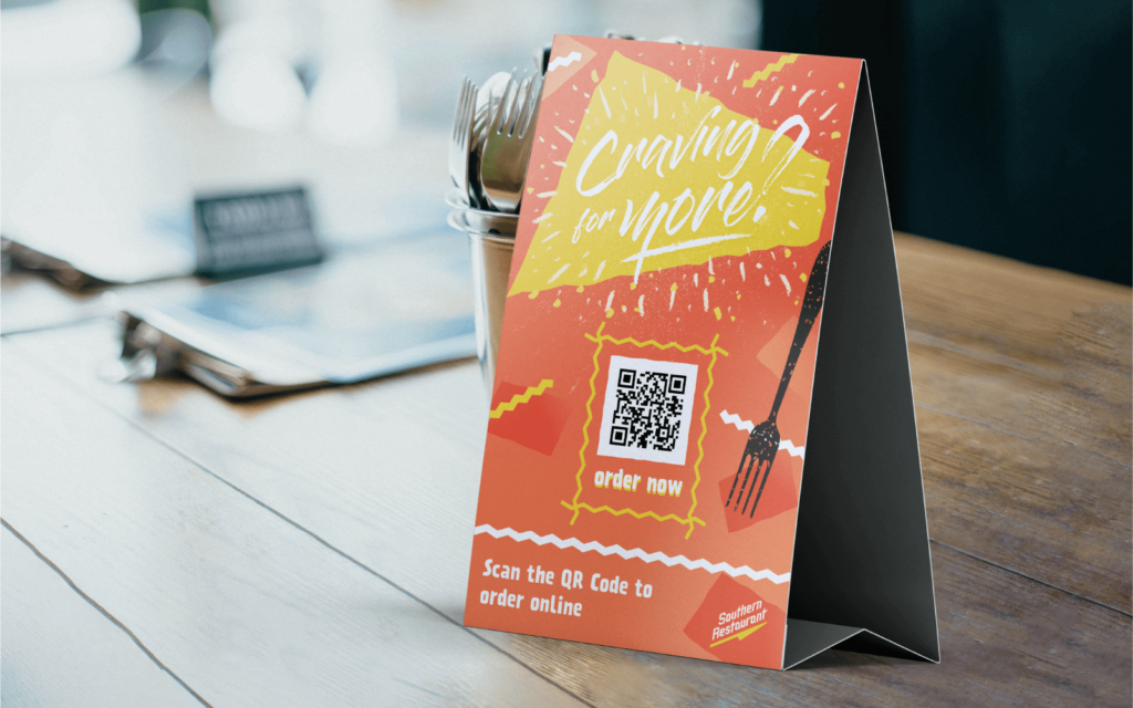 A QR Code on a table tent enables customers to place delivery orders from restaurants during the coronavirus