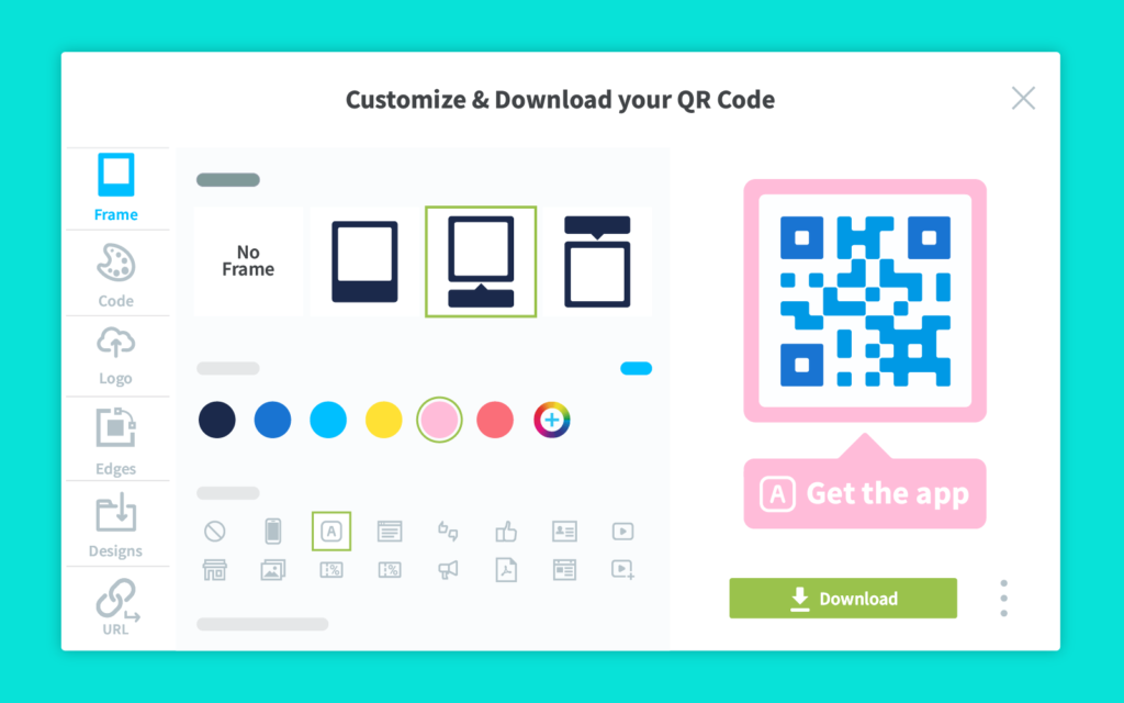 Customize App Store QR Code frames, icons, edges, logo, and colors.