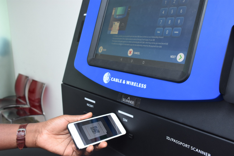 Bill payments via QR Codes at a kiosk in Seychelles