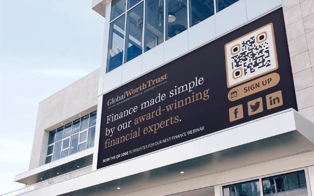 A finance company promotes a webinar using a QR Code on a billboard ad