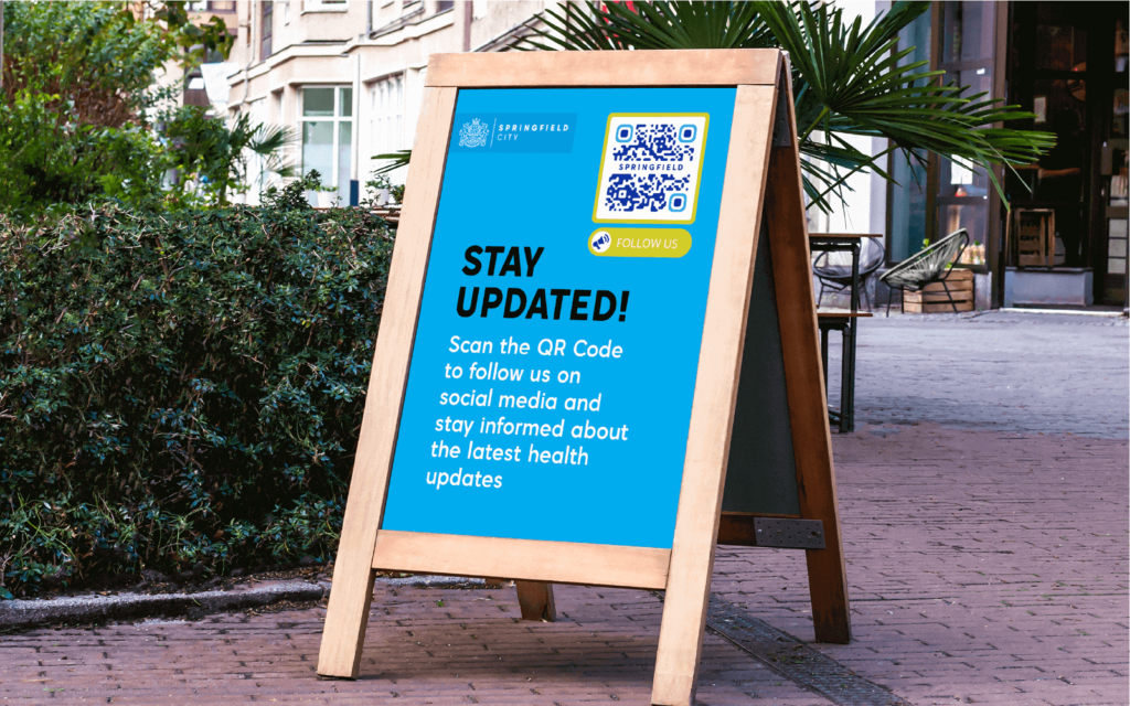 A QR Code conveniently connects users with information about government updates