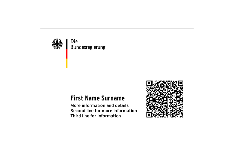 A QR Code on a business card guideline for German government officials