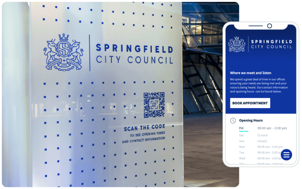 A QR Code connects citizens to government office hours