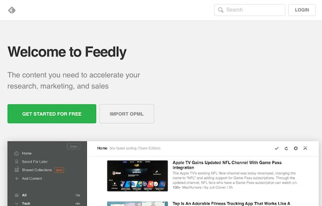 feedly per il social media marketing