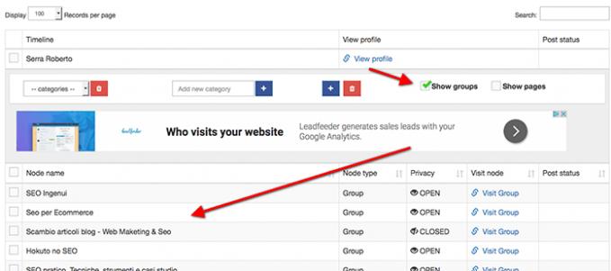 aumentare visite al sito pubblicando gli articoli contemporaneamente su più gruppi facebook